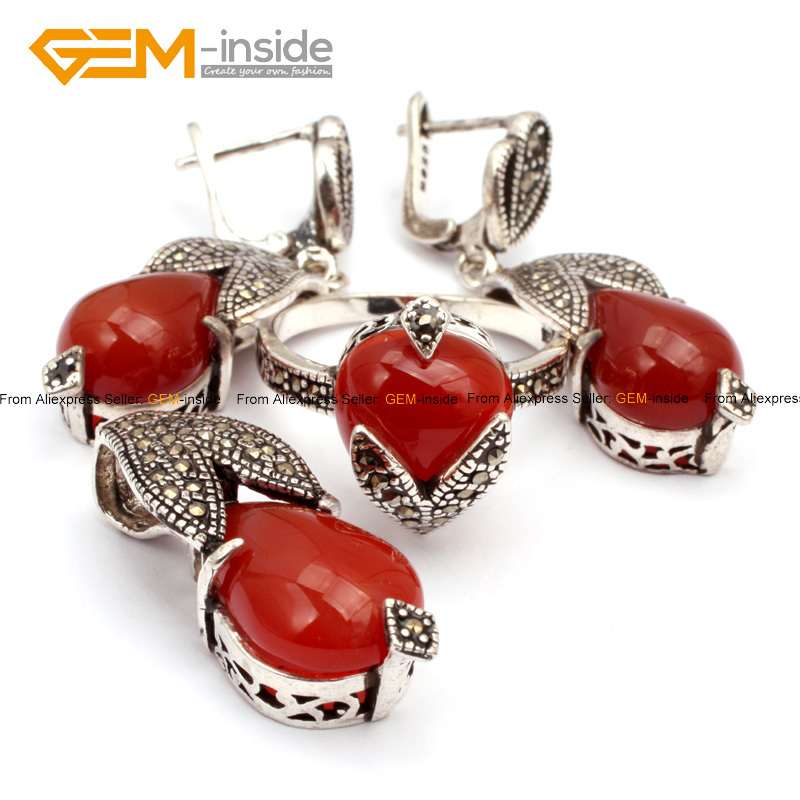 Antiqued Tibeten Silver Ring Earrings Pendant Jewelry Sets Color selectable Beads Fashion Jewelry Set For Party Free Shipping