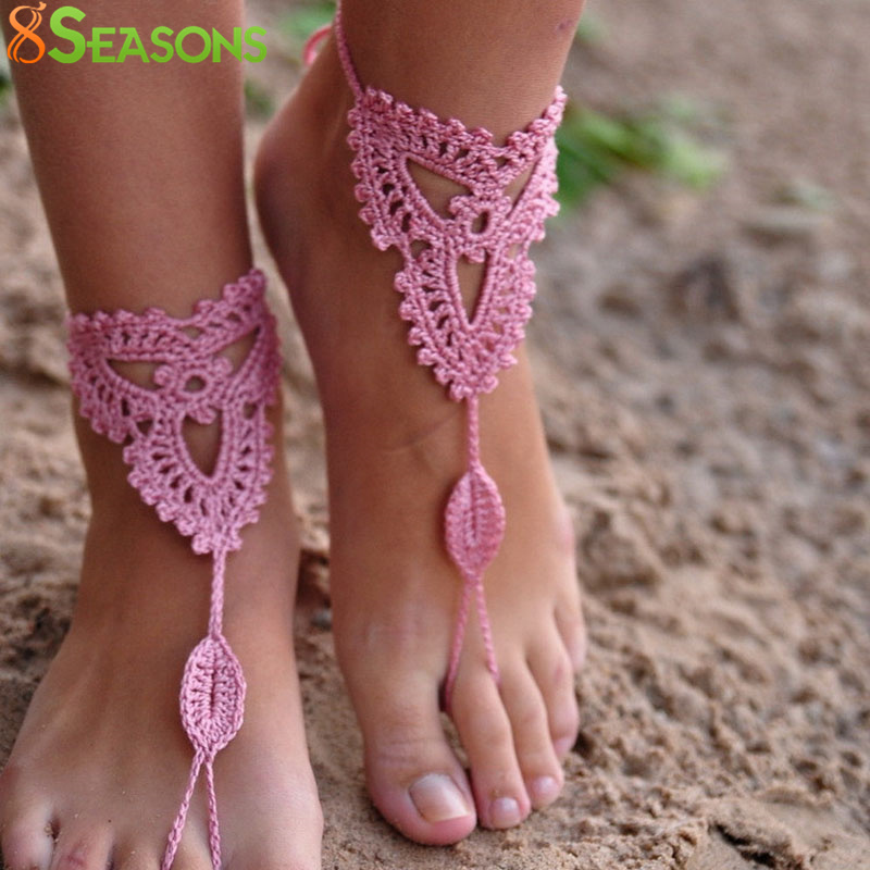 Trend Mark Cotton Knit Crochet Barefoot Sandals Anklet Chain Women Foot Bracelet Fashionable In Style;