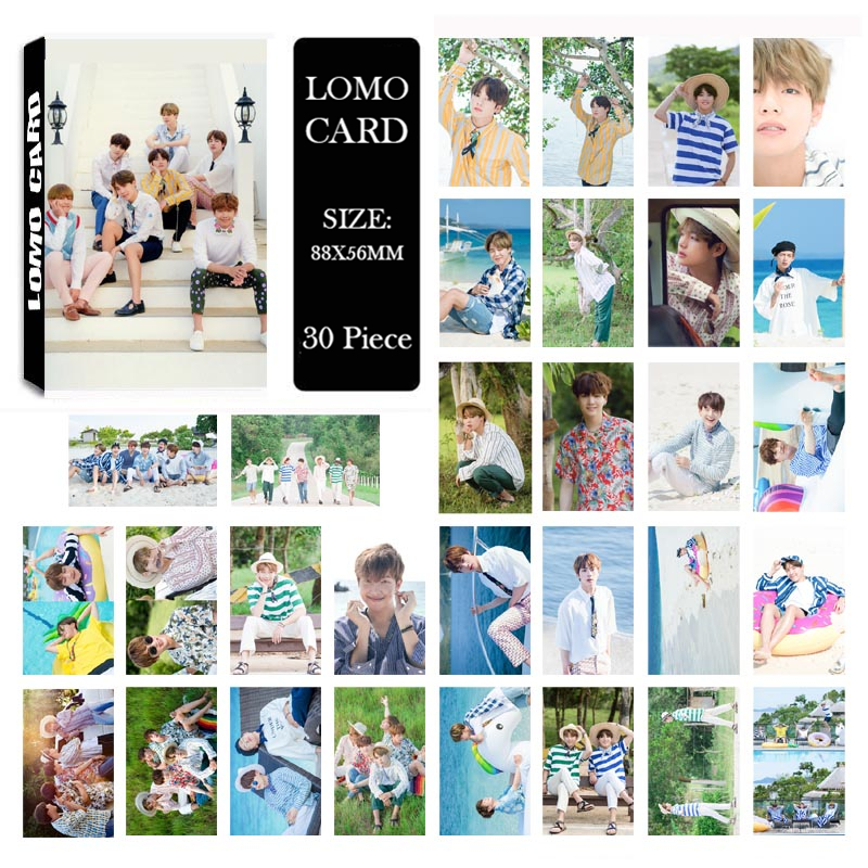 все цены на Youpop KPOP BTS 2017 SUMMER PACKAGE Album LOMO Cards K-POP New Fashion Self Made Paper Photo Card HD Photocard LK511