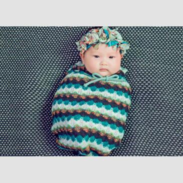 Fashion Lovely Baby Photography Props Wholesale Exquisite Striped Handmade Knitted 100 Days Infants Sleeping Bags with Headwear