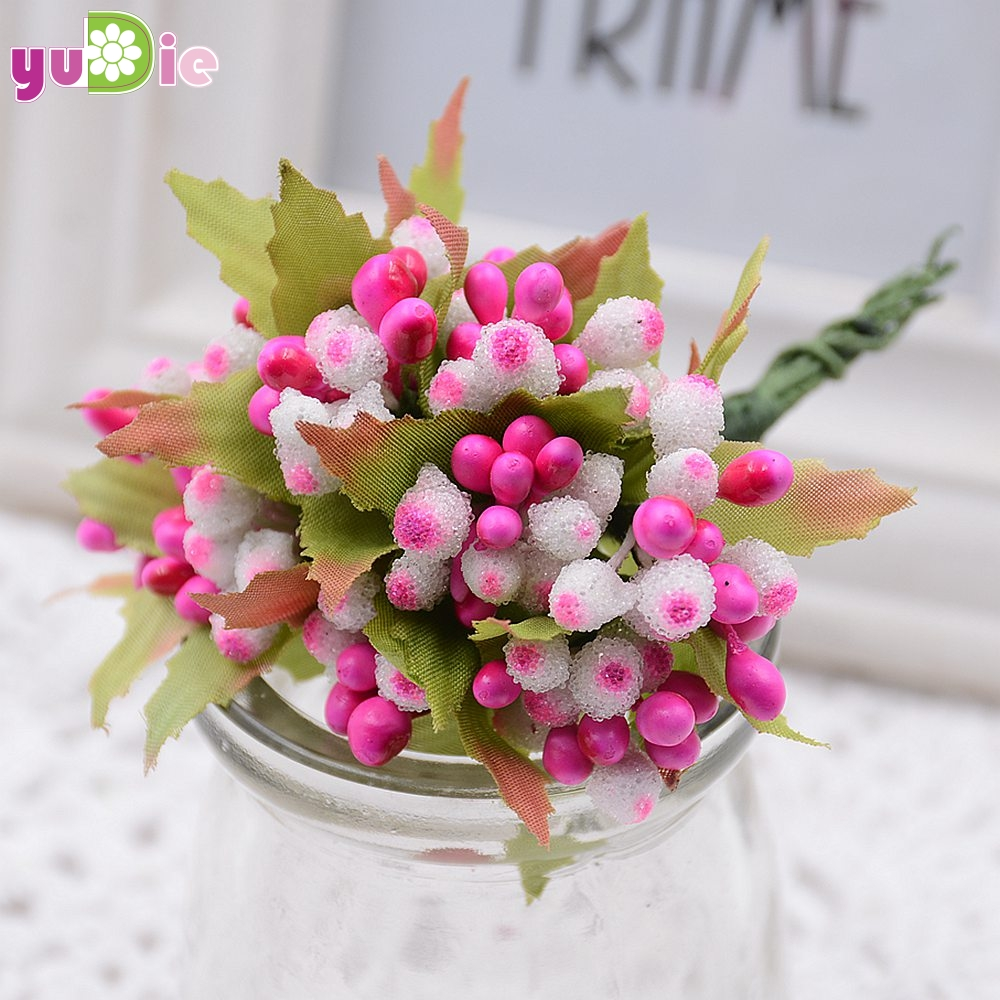 100pcs Lot Multicolor Flower Bud Collage Decorative Berries Candy