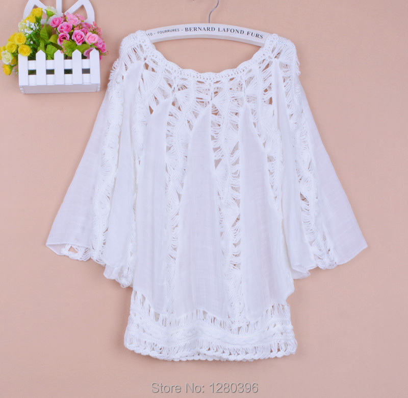New hot sale   blouse   Summer autumn fashion hollow out handmade crocheted batwing sleeve cotton pullover women   blouse     shirt   1707