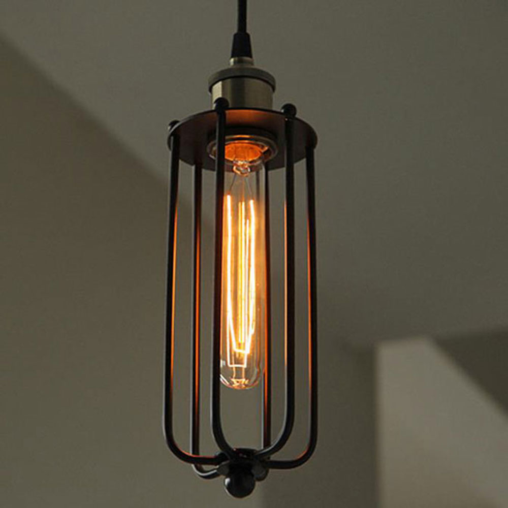 AC100 240V D95H30cm Vintage Long Black Pendant Light