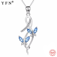 Genuine 925 Sterling Silver Necklace Butterfly Blue White Crystal Pendants Necklaces Jewelry New Necklace Gift For Women PYX0245