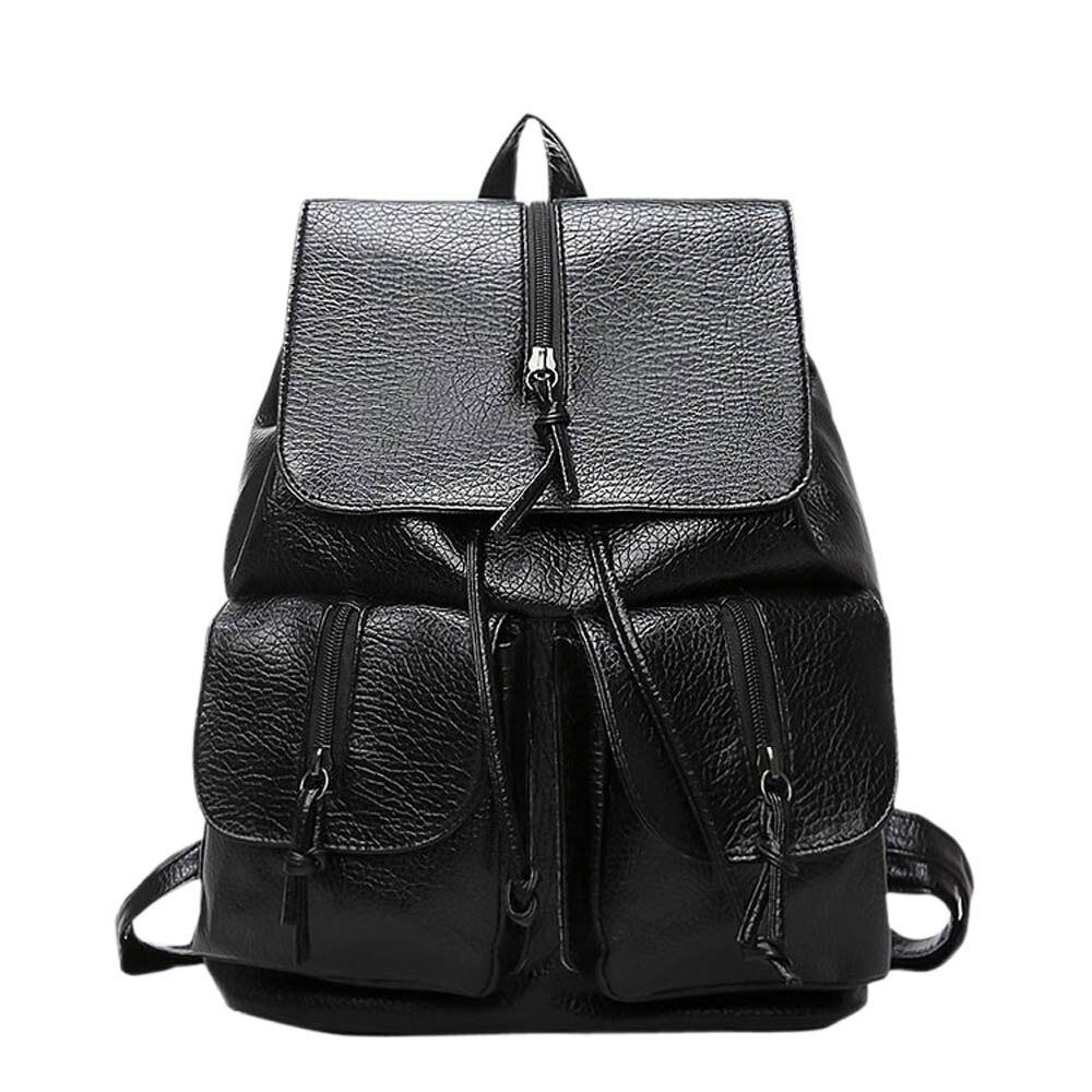 2017 best price Women solid color Backpacks Fashion Women Girls Ladies Backpack Travel Shoulder Bag Rucksack
