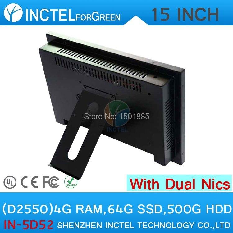 Dernier écran tactile de panneau de LED de 15 pouces tout en un windows POS ordinateurs double 1000 Mbps Nics 4G RAM 64G SSD 500G HDD