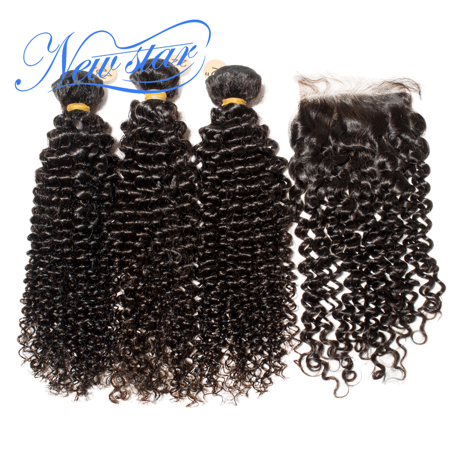 Brazilian Afro Kinky Curly Virgin Hair 3 Bundles Weaving With Lace 4x4 Closure New Star Human Hair Product And Free Part Closure
