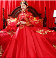 Red Chinese Wedding Bride Cheongsam Traditional Style marry Evening Dress Embroidery Long Qipao Womens Clothing Size S XXL