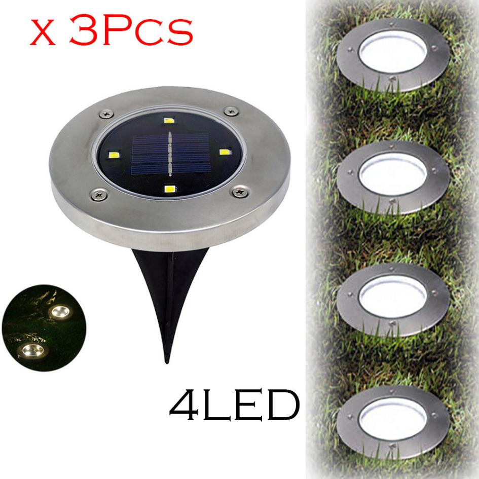 Led Lamps Muqgew 3pcs 2v/100ma Solar 4 Led Outdoor Path Light Spot Lamp Yard Garden Lawn Waterproof Ip65 Stainless Steel And Abs Products Hot Sale