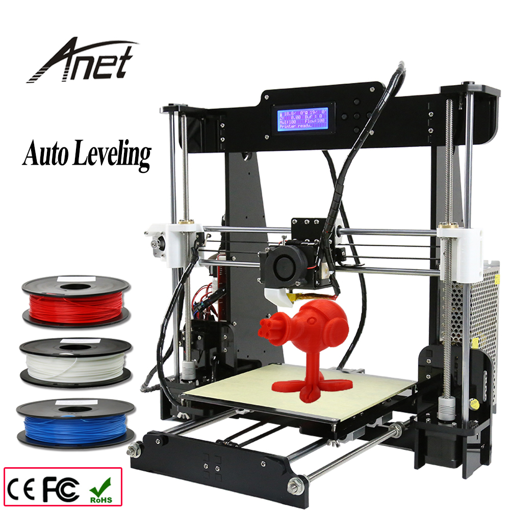 220*220*240mm Size Auto Level & Normal A8 Acrylic Reprap Prusa i3 3D Printer DIY Kit  3 Rolls Filament 8GB SD Card &LCD as Gifts