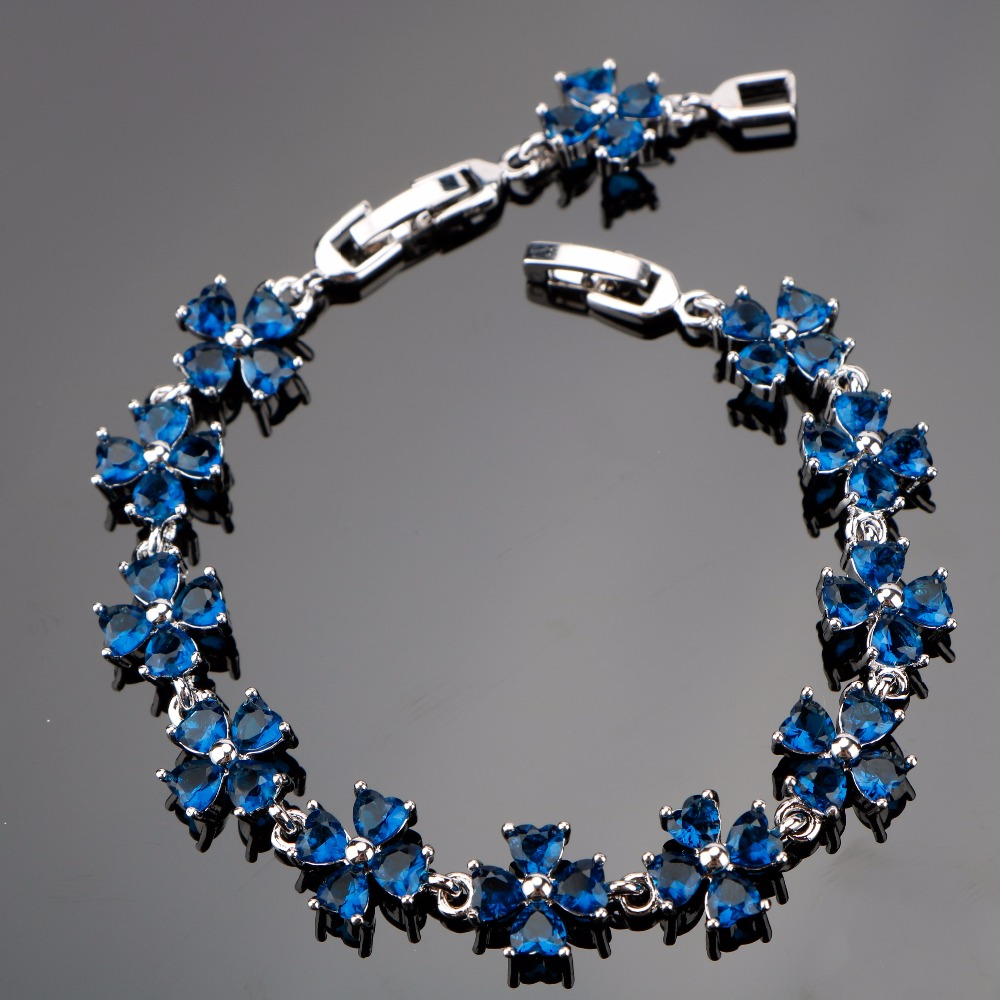 Flower Dark Blue Luxury Cubic Zirconia Silver 925 Bracelets For Women Sterling Silver Jewelry length 18+2 CM Free Gift Box vanaxin mens bracelets chain brass cubic zirconia silver color male bracelets cuba chian wholesale vintage punk jewelry gift box