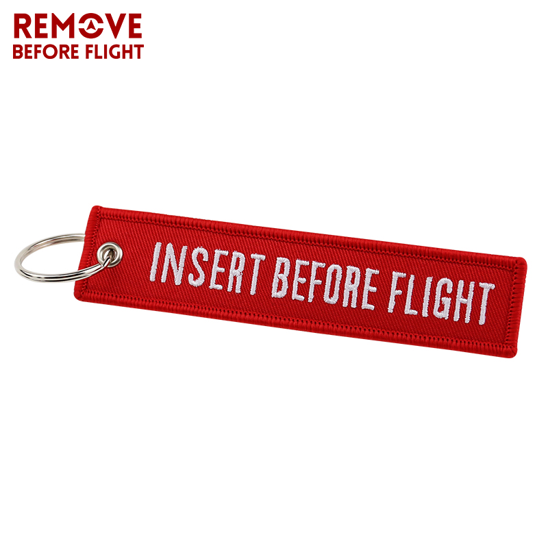 Fashion Jewelry Keychain for Motorcycles and Cars OEM Key Chains Red Embroidery Key Fobs INSERT BEFORE FLIGHT  Key Chain Tag (1)