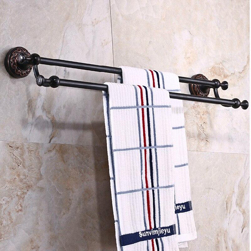 ФОТО Wholesale And Retail Luxury Oil Rubbed Bronze Towel Rack Holder Dual Towel Bars Flower Carved Towel Rack Holder W/ Hook Hangers