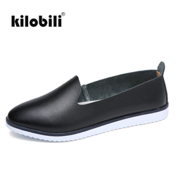 kilobili Women Ballet Flats Shoes Genuine Leather Slip on ladies Shallow Moccasins Casual Shoes Female Summer Loafer Shoes Women 6