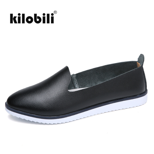kilobili Women Ballet Flats Shoes Genuine Leather Slip on ladies Shallow Moccasins Casual Shoes Female Summer Loafer Shoes Women
