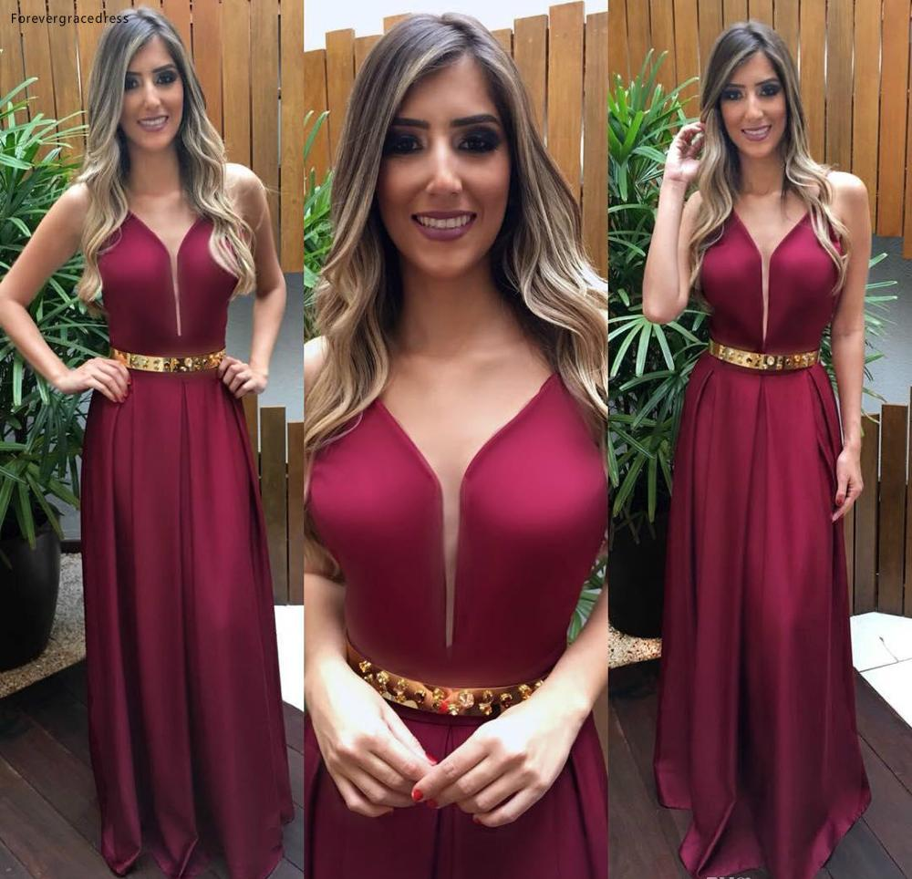 2019 Cheap Burgundy   Evening     Dress   A Line V Neck Long Holiday Wear Pageant Prom Party Gown Custom Made Plus Size