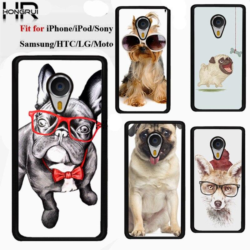 Cute Pug Dog Hard Plastic Custom Printed Cell Phone Cases Cover For Meizu Mx4 Mx4 pro Meizu M1 Note Meizu M2 Note Sony Z1 Z2 Z3
