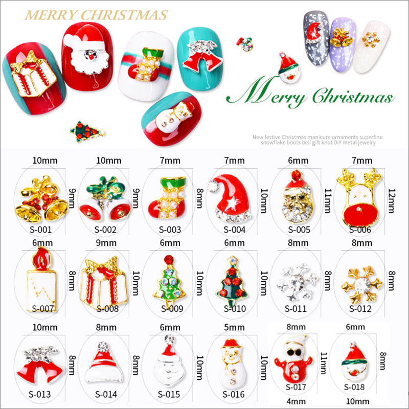 20pcs/bag 23 Designs Christmas Nail Art Decorations Nail Studs Snowman Alloy 3d Glitters Art Nail unas Jewelry Supplies blueness 10pcs lot red cherry 3d nail art charm decorations alloy glitter jewelry rhinestones for nail studs tools diy gem tn061