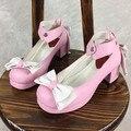 El Japonés Exclusivo Personalizado Y Suave Lolita de Color Hechizo de Amor Súper Arco Roundheaded Grueso Zapato de Las Mujeres zapatos de Tacón Alto Bombas