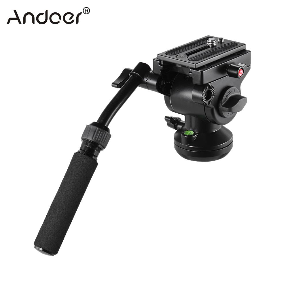 Andoer Video Camera Tripod Action Fluid Drag Pan Head Panoramic Head for Canon Nikon Sony DSLR