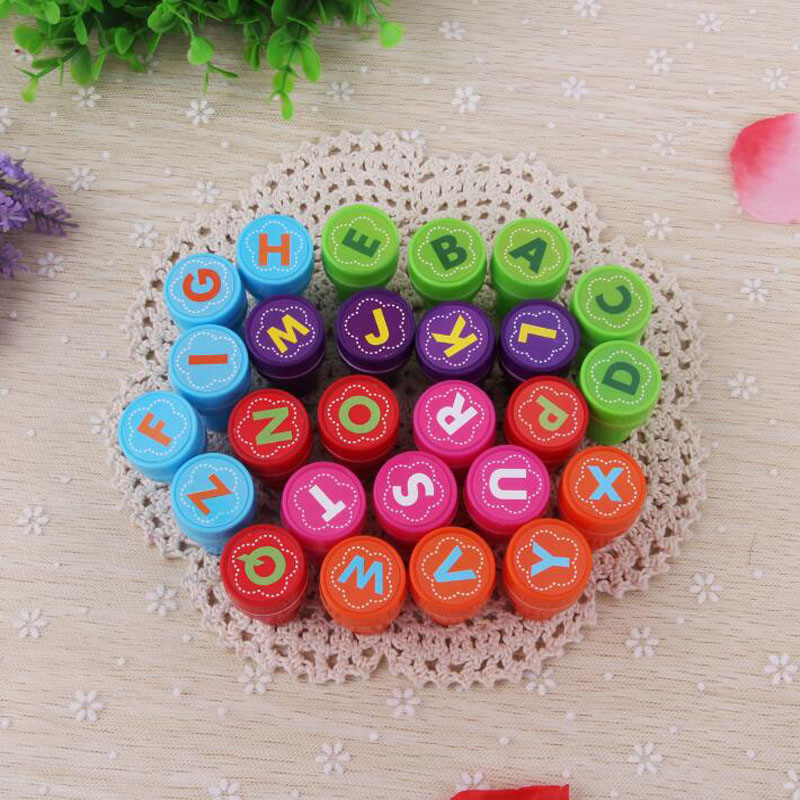 1pc Cute Alphabet Series Seal Round Plastic Cartoon Bring Inkpad Seal Toy School Office Party Favors Kids Educational Stationery