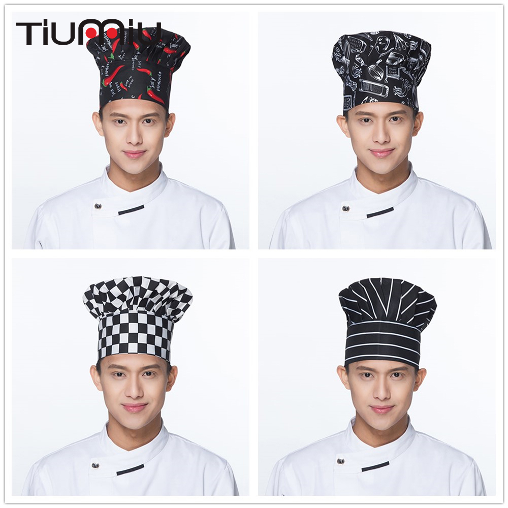 Hot 10 Colors High Quality Wholesale Chili Forks Ice Cream Prints Chef Waiter Hats Restaurant Chef Cooking Workwear Mushroom Cap