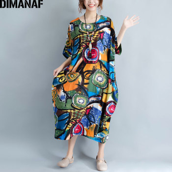 Women Dress Plus Size Summer Pattern Print Linen Colorful Female Loose Batwing Casual Retro Vintage Large Size Dresses 1