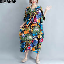 DIMANAF Women Dress Plus Size Summer Pattern Print Linen Colorful Female Loose Batwing Casual Retro Vintage Large Size Dresses
