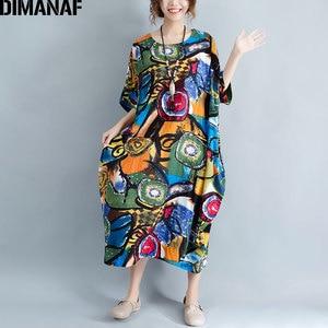 Image 2 - DIMANAF Women Dress Plus Size Summer Pattern Print Linen Colorful Female Loose Batwing Casual Retro Vintage Large Size Dresses