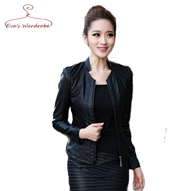 Genuine Leather Motorcycle Jackets 2016 Women's Spring Autumn Short Coat Ladies Girls Zippers Black Leather Fashion Outcoat