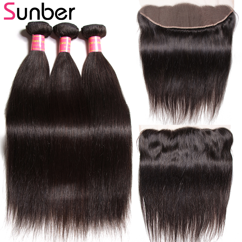 Sunber Hair Peruvian Straight Hair Remy Human Hair Weaving 3 Bundles With One Piece Lace Frontal