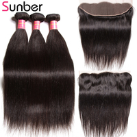 Sunber Hair Peruvian Straight Hair Remy Human Hair Weaving 3 Bundles With One Piece Lace Frontal 13x4inch Free Shipping