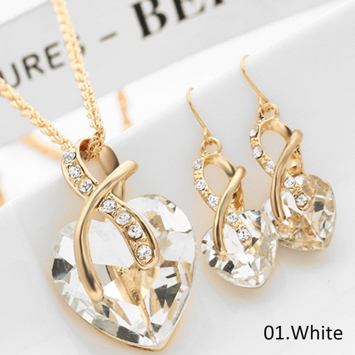HTB1zeOqSpXXXXX7aFXXq6xXFXXX3 - Luxury Gold Love Crystal Heart Pendant Jewelry Sets For Women Chain Necklace Earrings Jewellery Set Bridal Wedding Accessories