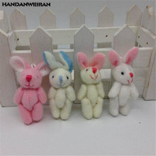 4PCS New Plush Joint Rabbit Toys Super Cute Kawaii Bunny Soft Stuffed Toy Wedding Promotional Gift For Kids Hot 4CM HANDANWEIRAN