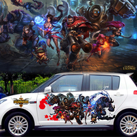 2PCS 3D Waterproof Printing Car Body Decals Spray Paint LOL Stickers Alliance Game Poster For A4 Polo Mini Sticker CNS171