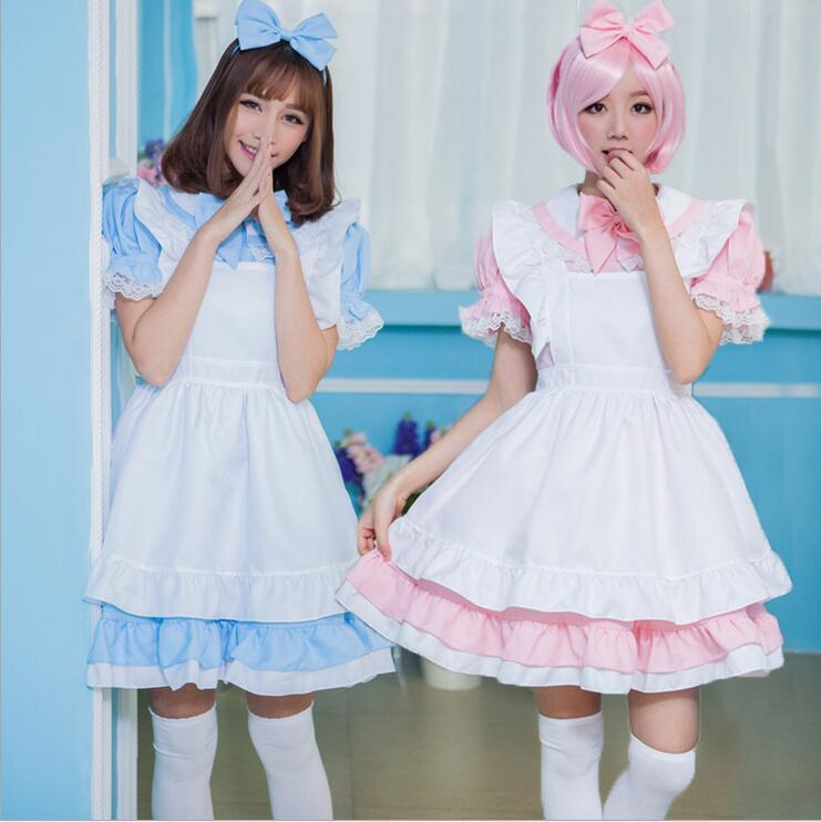 US $15.55 29% OFF|Adult Kid Plus Size XL Alice In Wonderland Costume Lolita  Dress Maid Cosplay Fantasia Carnival Halloween Costume For Women Girl on ...