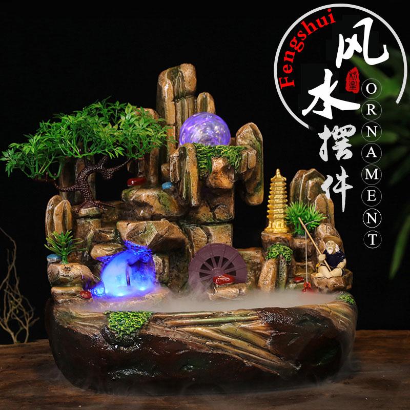 chino feng shui fuente de agua de resina artesana artificial paisaje interior de