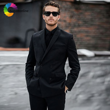 Men Suits For Wedding Black Double Breasted Bridegroom Groom Casual Custom Slim Fit Prom Tuxedo Best Man Blazer Costume 2 Pieces