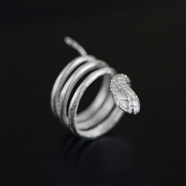 Lotus Fun Handmade Snake Ring Real 925 Sterling Silver Jewelry Fashion Accessories Women Punk Rock
