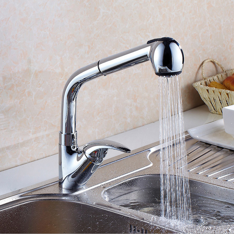 Free shipping Newly design pull out kitchen sink faucet with european style brass kitchen sink water
