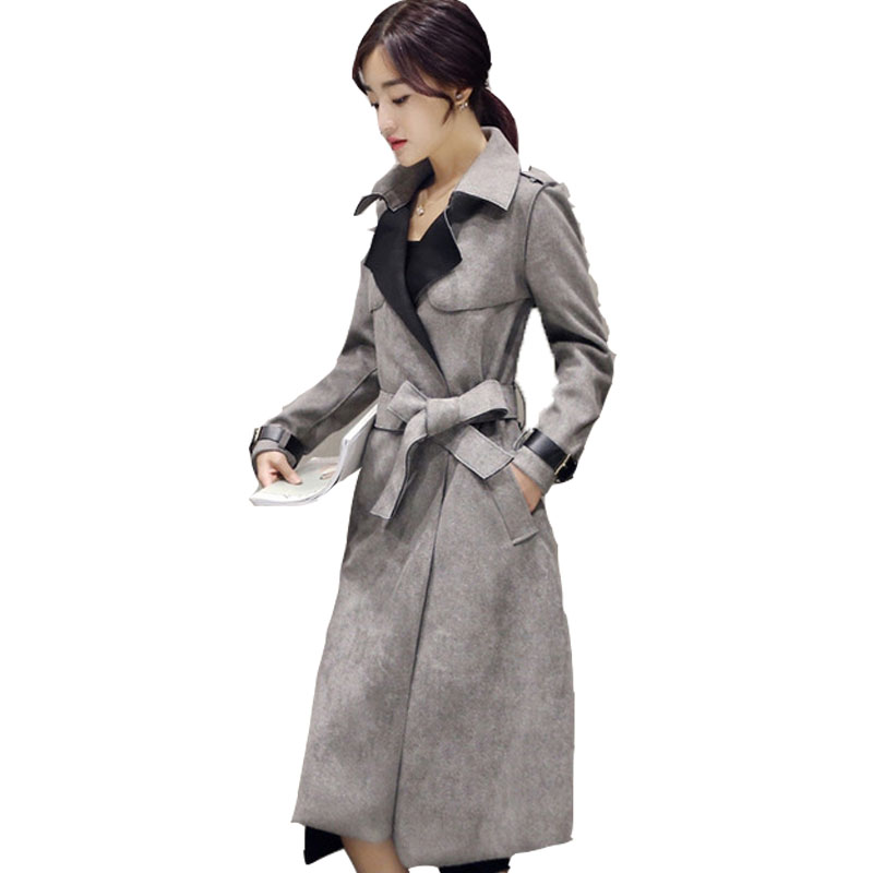 Autumn Suede   Trench   Coat Women Abrigo Mujer Fashion Plus Size Outerwear Elegant Long   Trench   Slim Suede Cardigan Windbreaker Q397