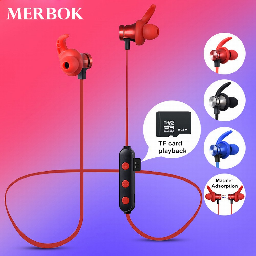 Sports Bluetooth Earphones Wireless Headphones Stereo Bluetooth Headset Support TF Card MP3 with Mic Headset for iPhone Xiaomi