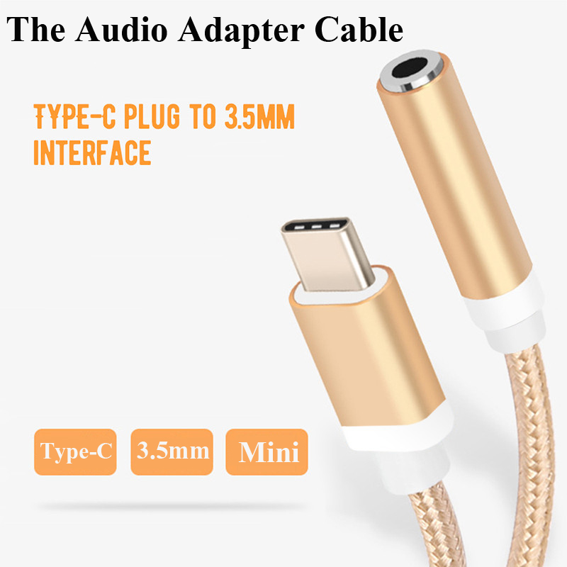 Type-C 3.5 Jack Earphone Cable Type C To 3.5mm AUX Headphones Adapter For Huawei Mate 10 P20 Pro For Xiaomi Mi 6 8 6X Mix 2s Le