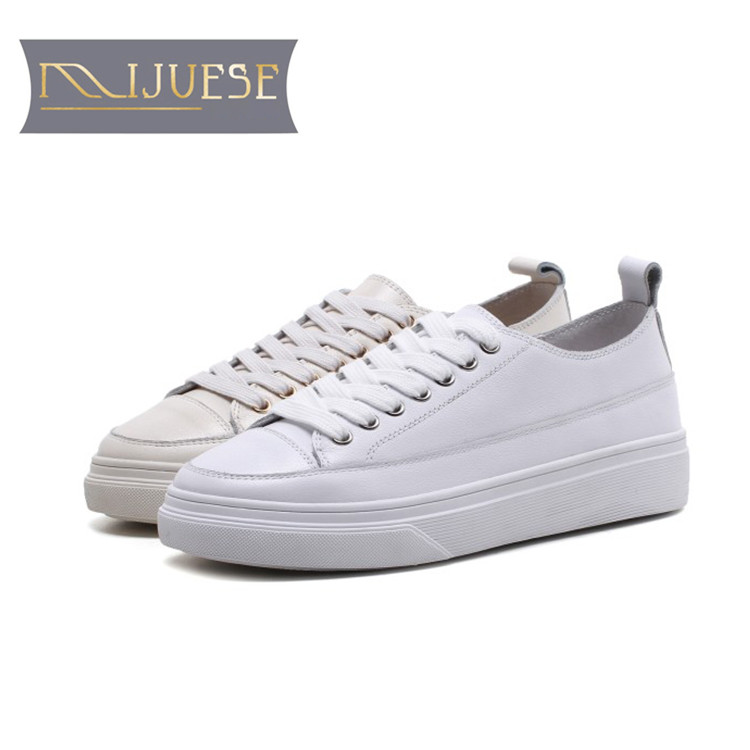 MLJUESE 2018 women sneakers cow leather lace up white color autumn spring Vulcanize Shoes fashion sneakers
