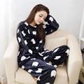 2016 Pijamas Das Mulheres Em Torno Do Pescoço Coreano Bonito Adulto Pijamas de Inverno do Velo Coral de Manga Comprida Sleepwear Poliéster Gatinho Calças de Pijama