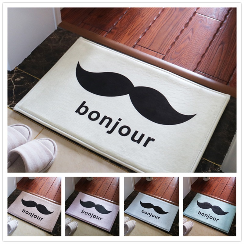 Us 12 99 Big Size Available Fashion Moustache Bonjour Welcome Home Soft Floor Foot Door Yoga Mat Bathroom Kitchen Hallway Carpet Area Rug In Carpet