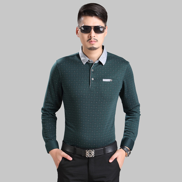 Men polo shirt Men's Long sleeve autumn and winter fine cotton plaid polos mens fashion business casual shirts wholesale