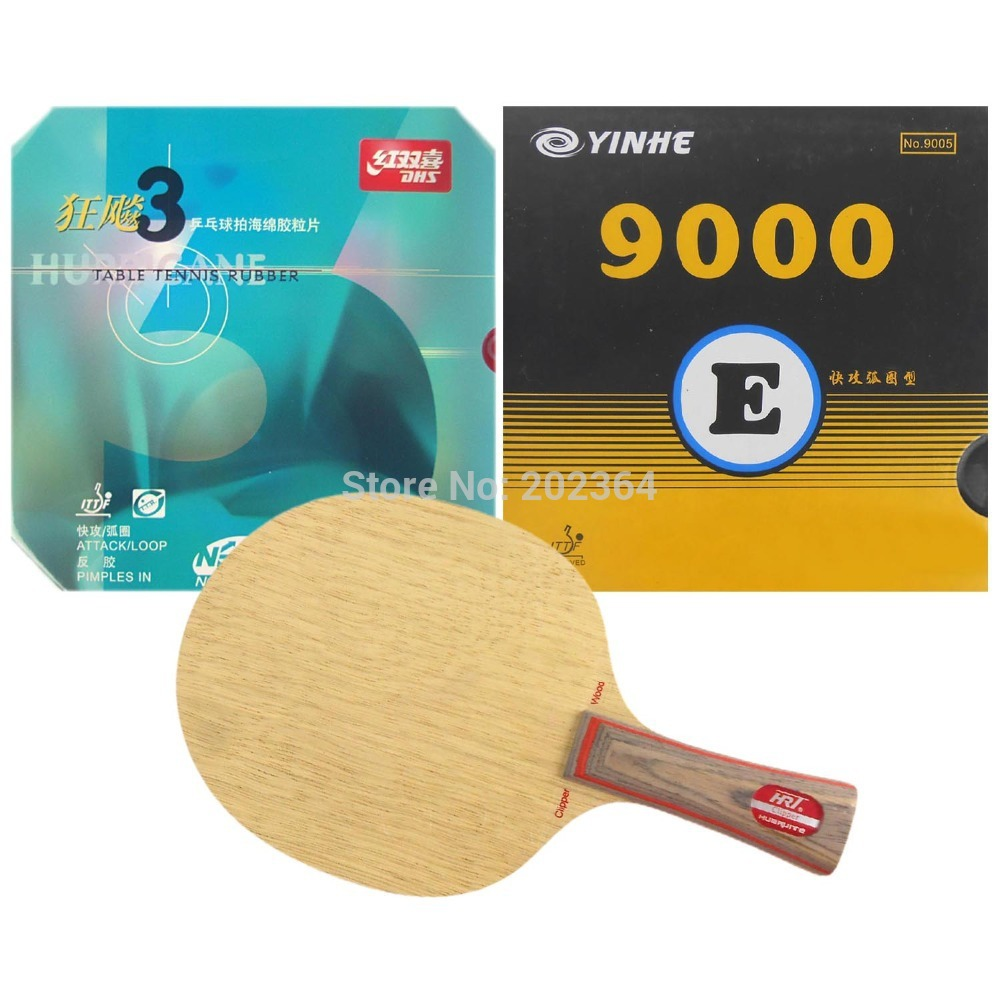 HRT 2091 Table Tennis Blade With DHS NEO Hurricane3 / Galaxy YINHE 9000E Rubber With Sponge for a Racket FL  hrt 2091 blade dhs neo hurricane3 and milky way 9000e rubber with sponge for a table tennis racket shakehand long handle fl