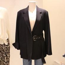 Suit Women Coat Version 2019 Spring New Black Suit Leisure Stripe Splicing Fashion Long-term Trend Women Jackets and Coats