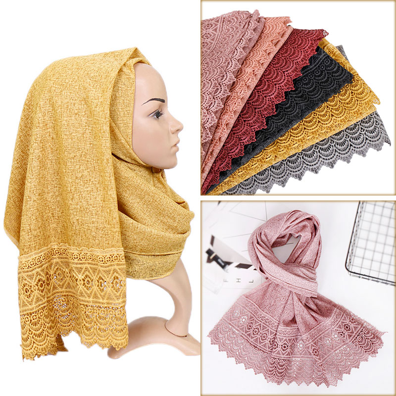Cotton lace pearls hijab scarf maxi stretchy wraps scarves beads bandhnu shawls muslim long islamic scarves